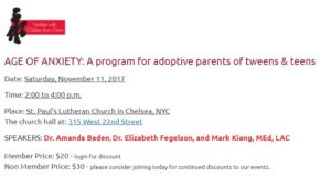 AGE OF ANXIETY A program for adoptive parents of tweens teens