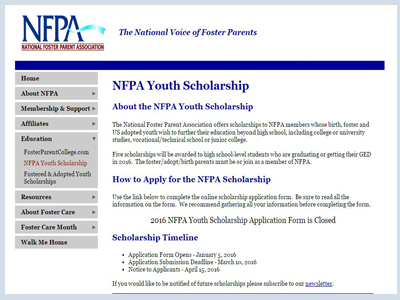 National Voice of Foster Parents Youth Scholarship