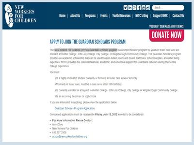 New Yorkers For Children (NYFC) Guardian Scholars program