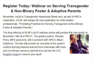 Promising Practices for Working with Transgender & Non-Binary Foster & Adoptive Parents