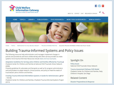 Building Trauma-Informed Systems and Policy Issues