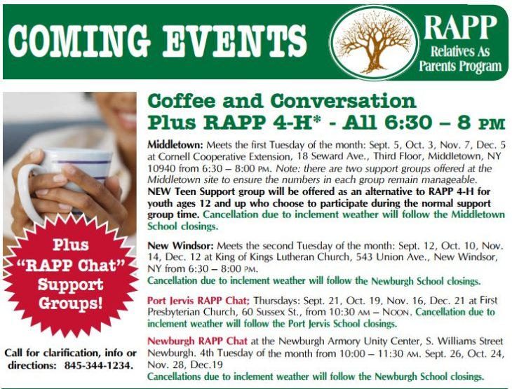 Coffee and Conversation; Support Groups for Grandparents and Relatives Raising Children-orange ct