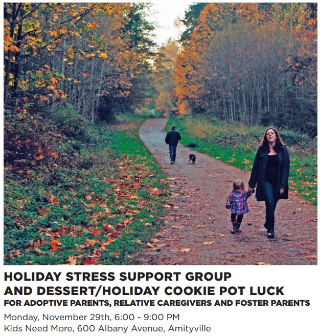Holiday Stress Support Group and Dessert/Holiday Cookie Pot Luck for adoptive parents, relative caregivers AND FOSTER PARENTS