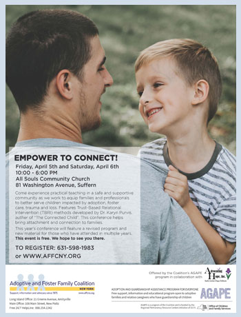 The Empower to Connect Conference 2019 Live Event takes place on April 5th and 6th form 10 AM to 6 PM. The entire conference is simulcast LIVE to the Coalition's hosted Rockland location: All Souls Community Church located at 81 Washington Avenue in Suffern.