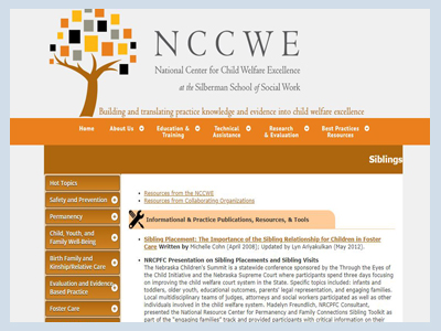 National Center Child Welfare Excellence; Sibling Resources and Links
