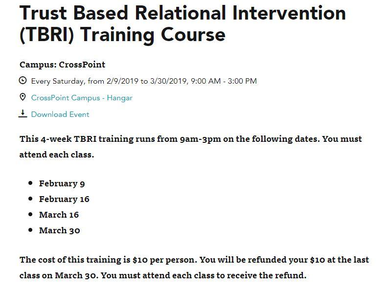 Trust Based Relational Intervention Tbri Training Course