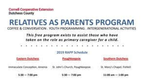 RELATIVES AS PARENTS PROGRAM COFFEE & CONVERSATION . YOUTH PROGRAMMING . INTERGENERATIONAL ACTIVITIES