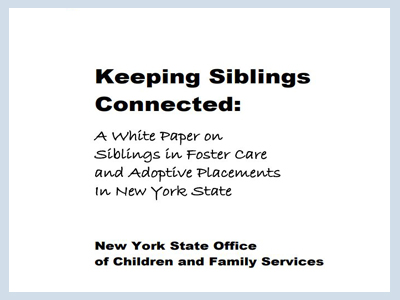 New York State OCFS White Paper on Siblings in Foster Care and Adoptive Placement