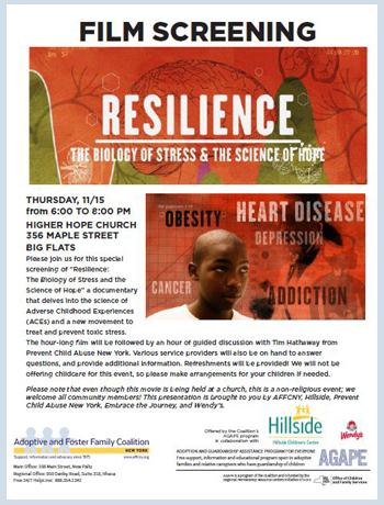 "Please join us for this special screening of ""Resilience: The Biology of Stress and the Science of Hope"" a documentary that delves into the science of Adverse Childhood Experiences (ACEs) and a new movement to treat and prevent toxic stress."