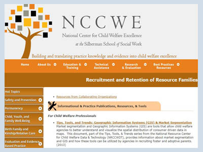 National Center for Child Welfare Excellence; Recruitment and Retention of Resource Families